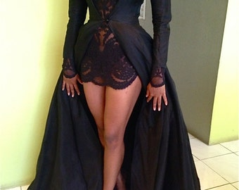 black embroidery lace sheer tunic & full tulle ball gown dress