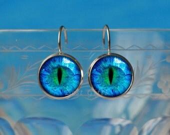 Blue Cats Eye Earrings - Silver Earrings - Eye Jewery - Cute 14mm Leverback Earrings - Womens Accessories Gift