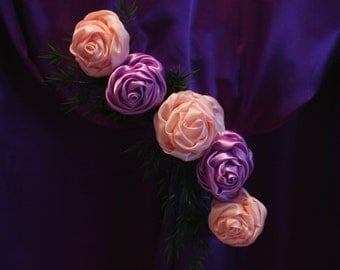 Large lavender Satin Rose, Large Purple Satin Rose, Light pink rose,  Fabric flowers, Arech wedding decorations,