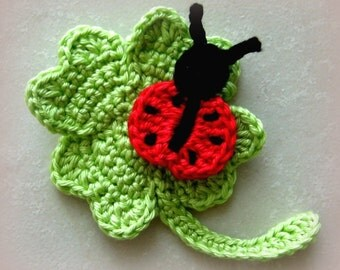 Crochet applique ladybird, crochet applique clover, Crochet pattern, instant download