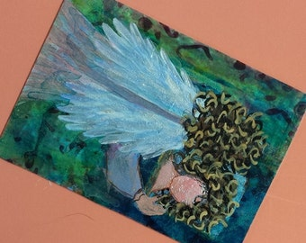 Original ACEO original painting FREE SHIPPING Angels Series1 Earning Pastel Wings Limited Edition 4 of 6 Christian Art cast artbyevelynmarie