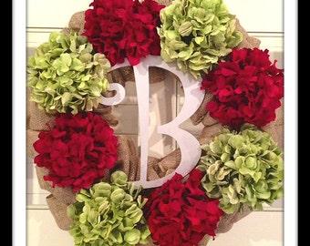 Hydrangea Monogram Wreath - Winter Wreath - Fall Wreath - Christmas Wreath - Holiday Wreath - Large Wreath - Flower Wreath - Burlap Wedding