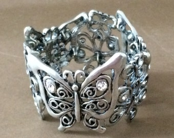 Silver Tone Butterfly Bracelet One Size Fits All
