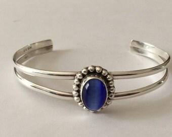 "Sterling Silver Glass Blue Cats Eye Bracelet 7 1/4"""