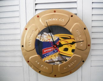 """Kodak 10"""" Gold Movie Can Wall Clock With Film, With Or Without Picture In Center"""