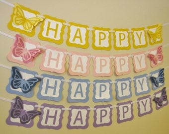 Butterfly Birthday Banner - Yellow, Pink, Blue or Purple