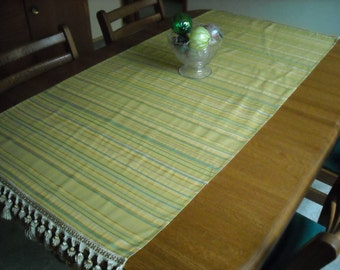 Lush Striped Runner with Tasseled Trim  28 x 60 inches