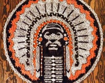 Handmade 34x34 fighting Illini Chief Illiniwek string art, wall art Copy