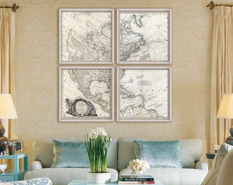 """Map of North America 1761, Historical map of US, Canada 5 sizes up to 48x48"""" (120x120cm) 1 or 4 parts, America - Limited Edition of 100"""