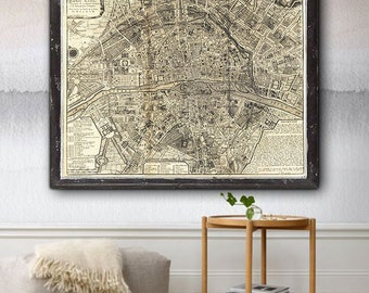 "Paris Map 1705, Romantical map of Paris in 5 sizes up to 43x36"" (110x90cm) Vintage map of Paris, France - Also available as digital download"