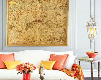 """Map of Greater London 1790, old London map in 4 sizes up to 45x36"""" (110x90 cm) map of """"25 miles round London"""" - Limited Edition of 100"""