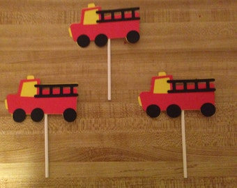Set of 12 Fire Truck Cupcake Toppers