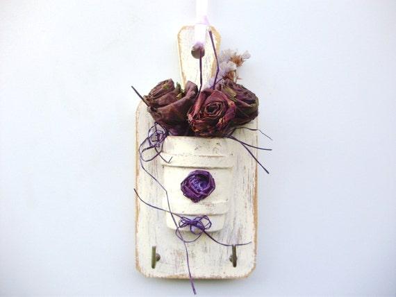 Portachiavi shabby con rose vegetali create con di marinellart
