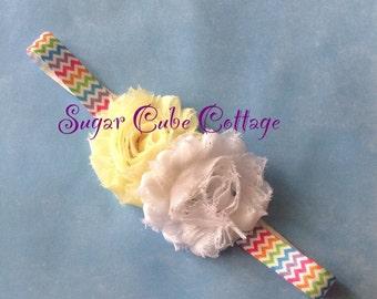 Pastel Shabby Flower Headband