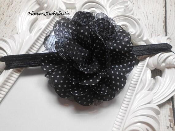 Black with polka dot Frayed Lace,Chiffon flower Baby Headband, Newborn Headband,  Infant Headband, Headband Baby, Baby Headband