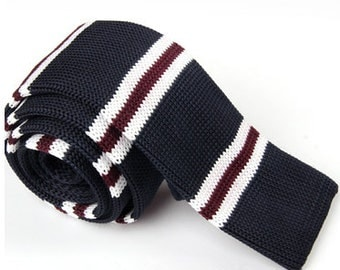 Knitted Ties.Mens Knit Neckties.Mens Ties with White and Brown Stripes.Wedding Ties for Men