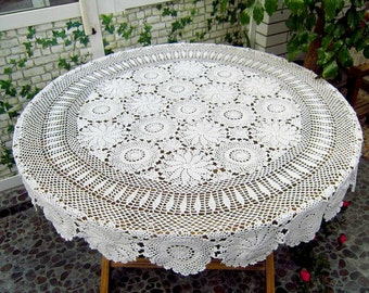 Round crochet tablecloth, Vintage crochet table cover, handmade table topper  for home decor ~ Color and Size Options