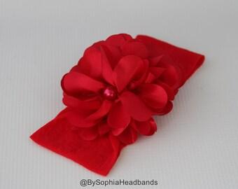 Red Baby Headband, Christmas Headband, Red Flower Headband, Photo Prop, Red Nylon Headband, Toddler Red Headband, Baby Nylon Headband, 847
