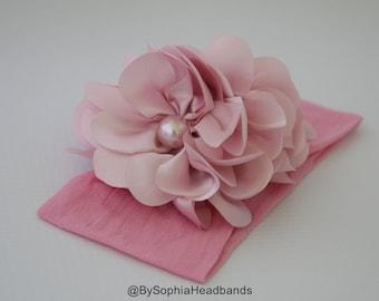 Pink Headband, Pink Flower Headband, Newborn Headband, Nylon Headband, Toddler Headband, Photography Prop, Flower Headband, Flower Girl, 847