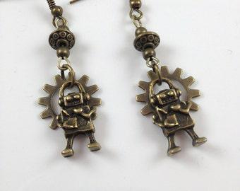 Gear Bot Earrings Robot Earriings  Dangle Earrings  Robot Jewelry