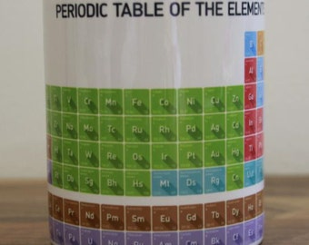 Mug Periodic Table of Elements Chemistry Atomic Numbers Chemicals Educational Sticker Gift Present