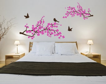Blossom Branch Wall Decal Cherry Blossom Birds Sticker Home Branch Leaves Mural Vinyl Sticker