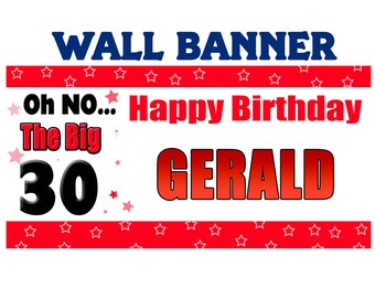 Happy Birthday Banner ~ Personalize Party Banners Indoor or Outdoor 30th Birthday
