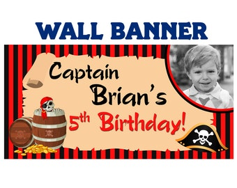 Pirate Captain Birthday Banner  ~ Personalize Party Photo Banners, Pirate Birtday Banner, Boys Birthday Banner, Custom Banner, Printed