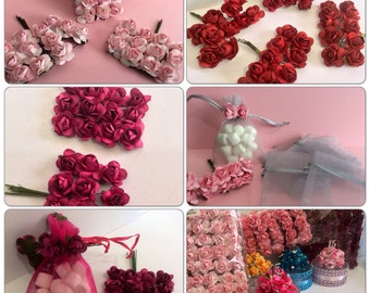 36 small paper flowers- small flowers for favor boxes