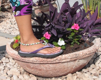 Beaded barefoot sandal, Foot jewelry, Beaded anklet violet green and white, Barefoot jewelry, Summer jewelry
