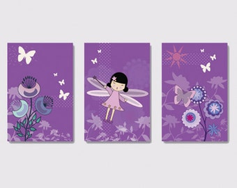 3 prints of fairy for child's room decoration, baby girl  wall art, nursery decor