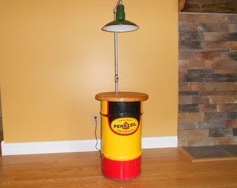 Handmade Upcycled Vintage Pennzoil Drum and Porcelain Gas Station Light Man Cave End Table/Floor Lamp