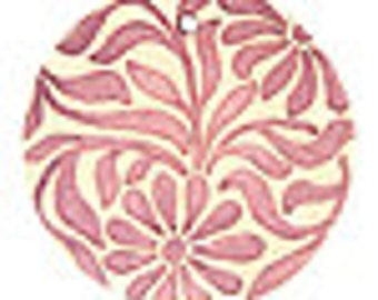 Mauve Wallpaper Pattern Floral Pendant - 24mm