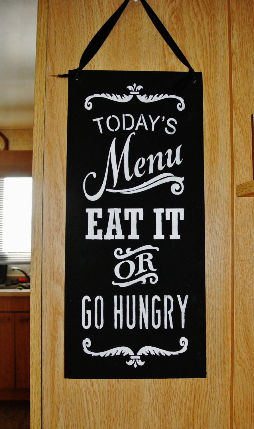 Kitchen wood sign kitchen decor today 39 s menu eat it or for Kitchen decoration signs