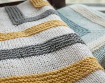 Playful Stripes Baby Blanket Knitting Pattern