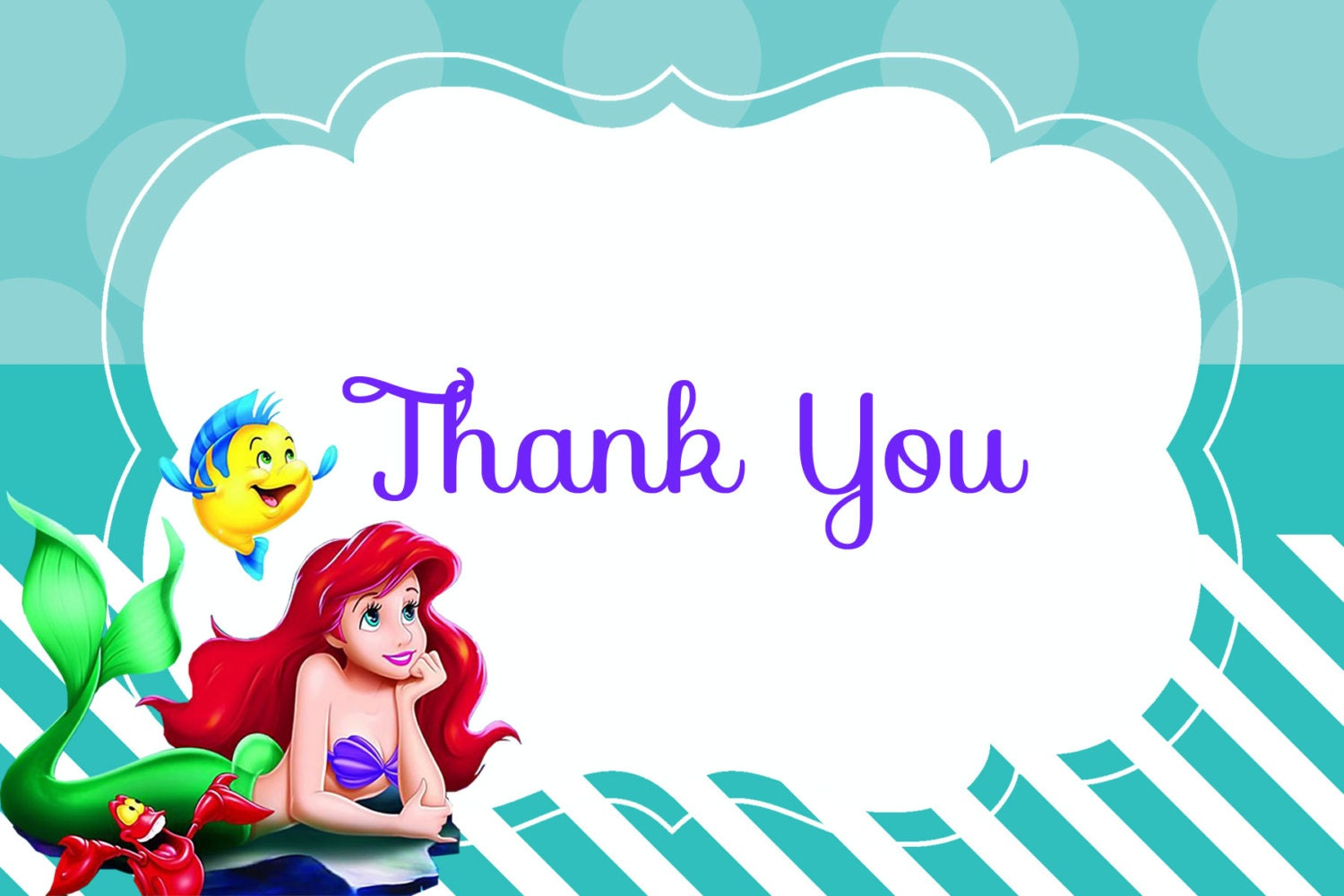 Instant Download The Little Mermaid Thank you card Ariel – Ariel Birthday Card
