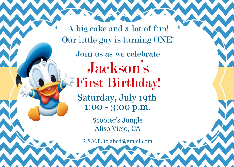 Donald Duck Invitation 1st birthday invitation Kids – Donald Duck Birthday Card