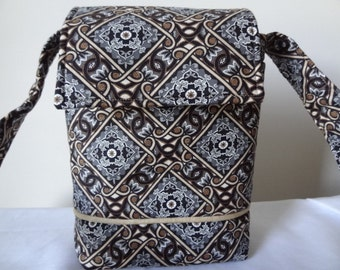 Small Messenger, Black, Gray and Tan Messenger, I Pad Cover, I Pad Case, Padded I Pad Cover, Cross Body, Small Purse, Gift, FREE SHIPPING