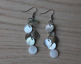 White shell earrings, Mussel Shell Earrings, Dangle Earrings, Beach Jewelry
