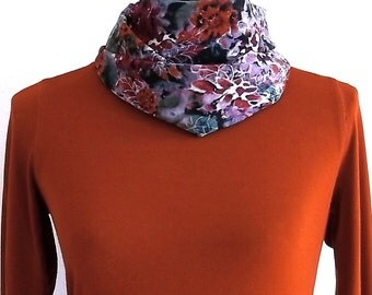 Purple scarf, cowl, cowgirl scarf, silk scarf, turtleneck, Rust Scarf, Accessories, Women's Clothing, Women's Scarves