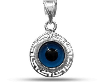 Greek Key Theme Double Sided Evil Eye Pendant In Sterling Silver