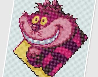 PDF Cross Stitch pattern - 0235.Cheshire ( Alice in Wonderland ) - INSTANT DOWNLOAD