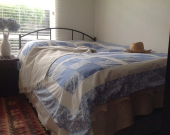Fresh, pretty floral handmade patchwork cotton bedspread / throw.