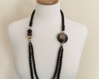Vintage Asian Inspired Black Bead Necklace