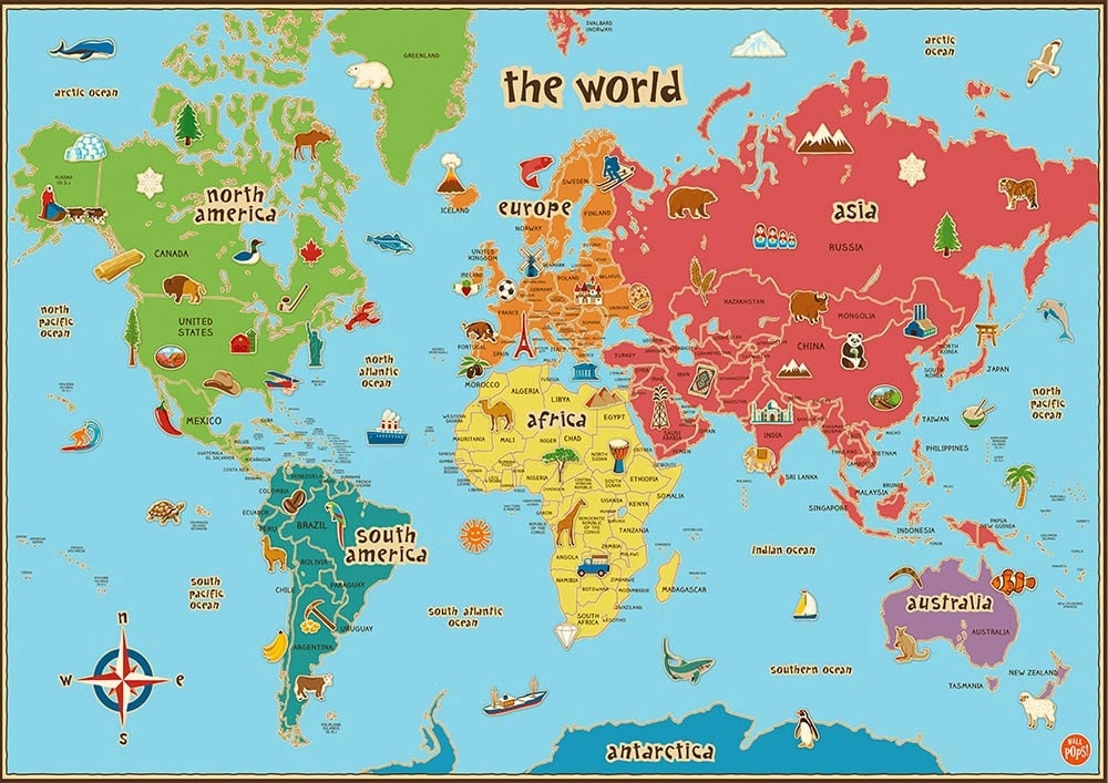 Children 39 s World Map Poster Wall Art Kids Baby Shower