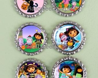 6  Halloween Themed Dora Inspired Finished Bottle Caps-Custom