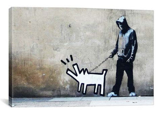 Banksy Choose Your Weapon Keith Haring Dog By Banksy Canvas