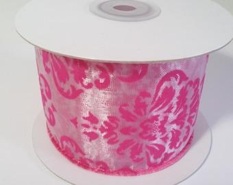 "2 1/2"" Hot Pink Wired Velvet Damask - 10 Yards"