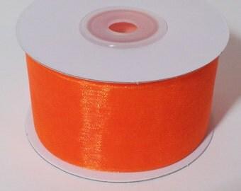 Sheer Organza Ribbon - Orange - 25 Yards