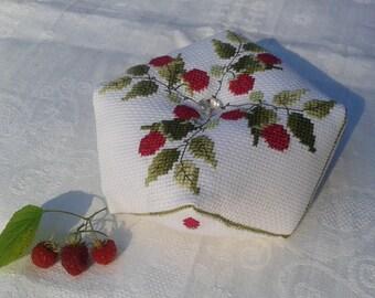 Pincushion Biscornu Cross stitch Pin cushion Embroidered Raspberry